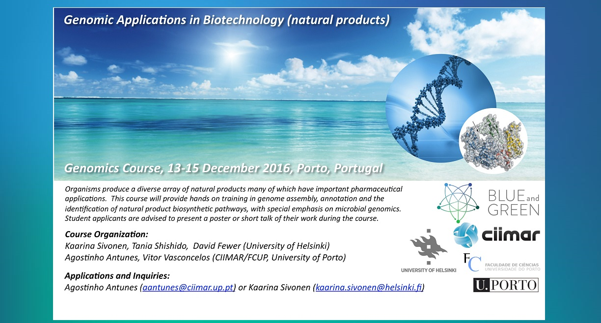"Course: ""Genomic Applications in Biotechnology (marine natural products)"" 13-15 December – Porto – Portugal"