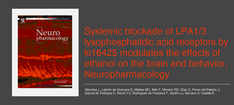 Systemic blockade of LPA1/3 lysophosphatidic acid receptors by ki16425 modulates the effects of ethanol on the brain and behavior, Neuropharmacology