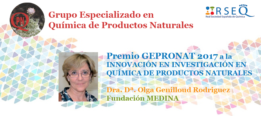 Dr Olga Genilloud awarded the GEPRONAT prize 2017 in Innovation in Natural Products Chemistry Research, 30 th of May, Madrid – Spain