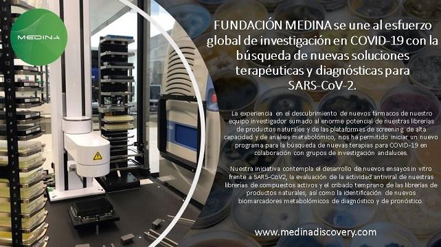 FUNDACIÓN MEDINA se une al esfuerzo global de investigación en COVID-19 con la búsqueda de nuevas soluciones terapéuticas y diagnósticas para SARS-CoV-2.