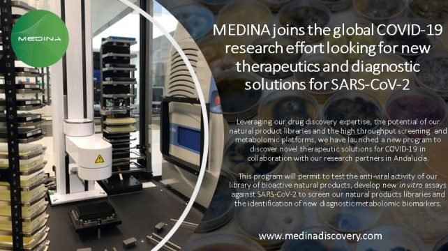 MEDINA joins the global COVID-19 research effort looking for new therapeutics and diagnostic solutions for SARS-CoV-2.